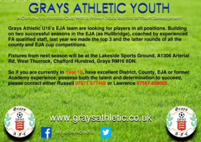 Grays U16 advert