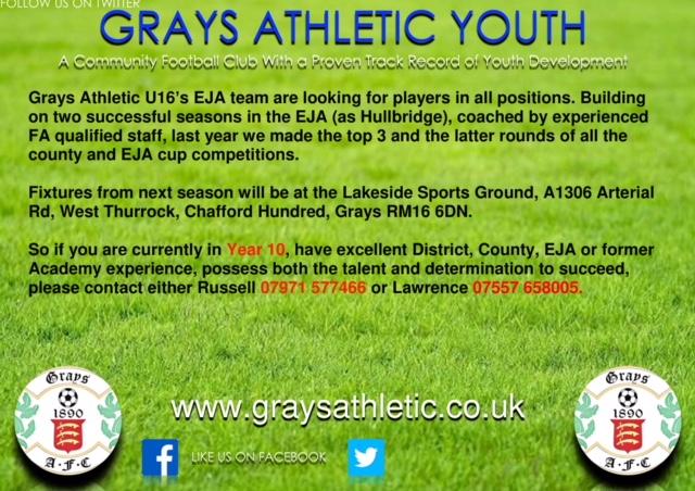 Grays U16 advert