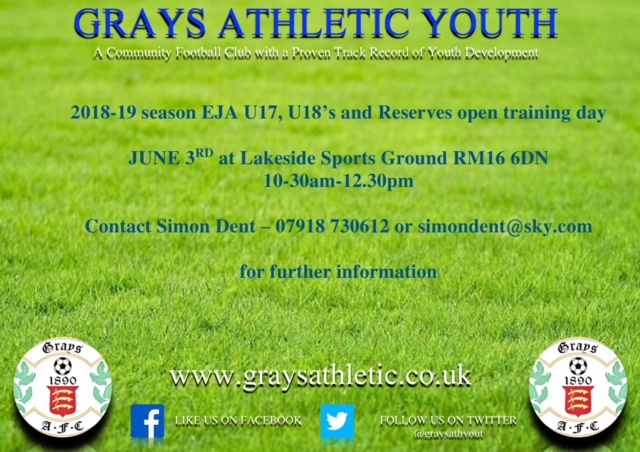 Grays U17, U18 & Reserved advert