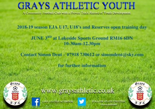 Grays U17, U18 & Reserved advert