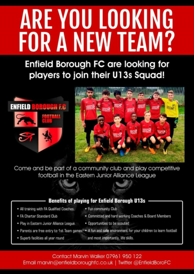 Enfield Borough are looking for new players